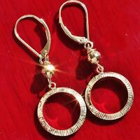 """10k yellow gold 1.62"""" dangle earrings diamond cut hoop vintage 1.5gr"""