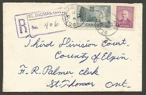 1953 Registered Cover 23c Paper/Abbott CDS St Thomas Ont Local