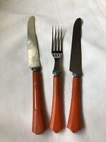 Vintage Orange Bakelite Flatware Silverware Knife Fork Lot Of 3 Tested