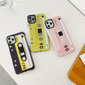 For iPhone 12 Pro Max 11 XS XR 8 7 SE 2020 Cassette Tape Pattern Soft Case Cover
