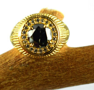 4.62 Ct Round Green Diamond Solitaire Halo Men's Gold Finish Ring