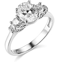 1.95 Ct Oval Cut 3-Stone Past Present Future Ring Real Solid 14K White Gold