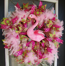 Florida Flamingo Deco Mesh Front Door Wreath Spring Summer Home Decor Decoration