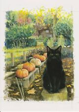 Black Cat & Pumpkins Halloween Witches Cat From Celia Pike Painting Blank Inside