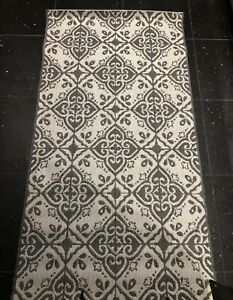 Silver With Dark Grey Flat Weave Floor Rug Runner 80x150cms Brand New