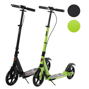 Teens Adult Kick Scooter Foldable Adjust 14+ w/ Rear Wheel&Hand Brake