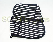 Double Oven Gloves Multi Stripe Heat Resistant Thick 100% Cotton BLACK