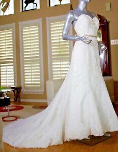 Amazing Cristina Wu Wedding Light Ivory Lace Tulle Dress Style 15451