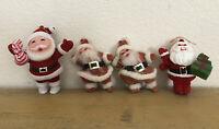 Vintage Flocked Santa Christmas Ornaments Lot Of 4