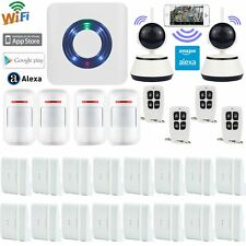 V11 APP WiFi Cloud Wireless Smart Home Security Burglar Alarm System+2 IP Camera