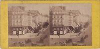 Francia Parigi Istantanea Boulevard Foto Stereo Vintage Albumina Ca 1860