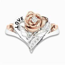 18K Rose Gold Filled Pink Sapphire Women Men Wedding Party Gift Ring Size 6-10
