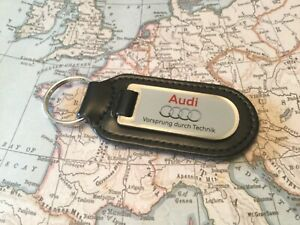 AUDI Black Real Leather Keyring  Printed  GREY A 1 2 3 4 5 6 7 8 R Q RS TT 1