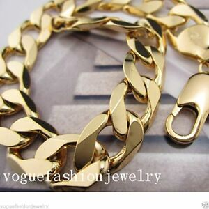 """Solid Mens 18K Yellow Gold Filled Curb Bracelet 9"""" 12MM Cuban Chain GF Jewelry"""