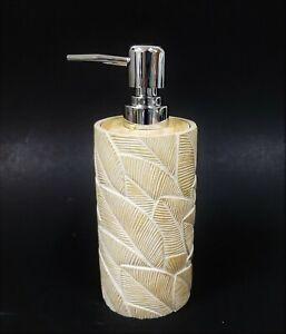 CROSCILL BEIGE RESIN LEAF,FEATHER DESIGN SOAP DISPENSER SILVER CHROME PUMP