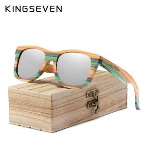 KINGSEVEN 2020 Retro Bamboo Sunglasses Men Women Polarized Mirror UV400 Sun