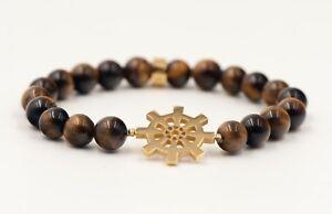 18K Gold Plated Tiger eye (Dharma Chakra) Charm Unisex Bracelet for Prosperity
