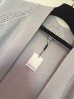 Ladies Calvin Klein Designer Cotton Mix Long Pale Grey Cardigan S/M UK 10-12