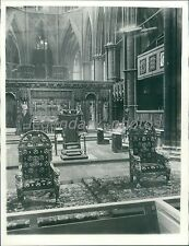 1937 Thrones Coronation Chair in Westminster Abbey Original News Service Photo