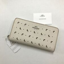 Coach * Accordion Zip Around Perf Leather Wallet in Chalk COD PayPal
