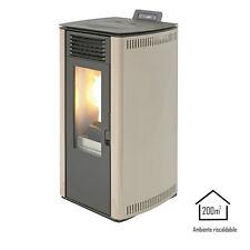 QLIMA Stufa a pellet 8,24kW avorio termostufa riscaldamento casa FIORINA74S-LINE