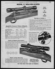 1950 WEAVER Model K K4... K2.5 ...K6 Vintage Rifle Scope PRINT AD
