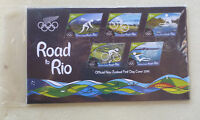 2016 NEW ZEALAND ROAD TO RIO OLYMPIC SET OF 5 STAMPS FDC FIRST DAY COVER