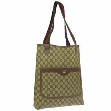 GUCCI Shelly Line GG Pattern Shoulder Tote Bag Purse Brown PVC Leather RK14217g