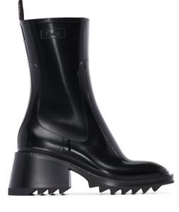 Chloe Betty Black Rain Boots Size 37   NEW