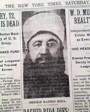 RASHID RIDA Islamic Reformer Scholar Salafi Movement Syria DEATH 1935 Newspaper