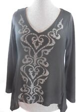 Women's Dark Gray Pull Over Top Blouse Sweater By One World Size M