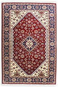 Hand Knotted Wool Carpet Red Blue 'Hampeya' Handmade Traditional Area Rug 5x8 ft