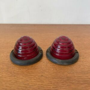 Porsche 356 Red Tail Light Lens Pair SWF K11442 BEEHIVE Taillight K 11442