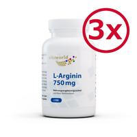 Vita World 3er Pack L-Arginin 750 mg 3 x 100 Kapseln Made in Germany