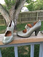 Miz Mooz Simone Gray Green Leather Mary Jane Pin Up Pumps Heels Size 6 B