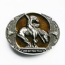 NEW INDIAN COWBOY HORSE TRAIL SKULL YELLOW BELT BUCKLE