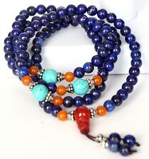 Tibet Buddhism 6mm Lapis Lazuli 108 Prayer Beads Mala Bracelet/Amulet