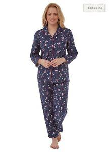Ladies 100% Brushed Cotton Wincyette Button Front Pyjamas Pajama Pjs  Set