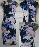 Coast Ladies Shift Dress Floral Ruched Occasion Party Blue Pink £99 Size 6-20