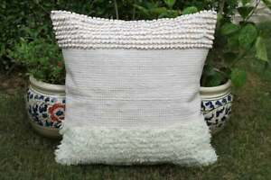 """Beautiful Handmade Cotton and Wool Mix Cushion Cover Size 18""""X18"""" Inch"""