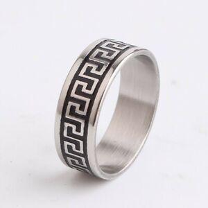 6mm Carved Greek Roman Stainless Steel Mens Rings