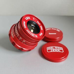 Lens SONNAR Carl Zeiss Jena DRP Sonnar 2.8/ 52mm Rangefinder M39 LEICA RED