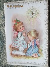 Vtg Unused Mid-Century Christmas Card~A Little Prayer~Joyous Baby Angels~Lamb