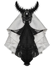 Devil Fashion Gothic Cravat Jabot Tie White Black Lace Steampunk Aristocrat Vtg