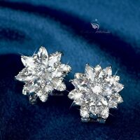 18k white rose gold filled crystal star stud flower 925 silver post earrings