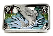Fishing Belt Buckle Fish Trout With Scenic Background Authentic C & J Buckles