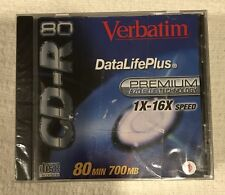 Verbatim 700MB/80 Min CD-R Disc With Case 1X-16X Speed AZO Blue Sealed Lot Of 5