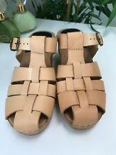 FUNKIS CLOGS Size 38 -8 Tan Woven Leather   Retro Boho SWEDISH