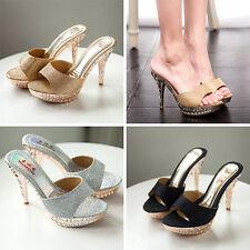 Women Summer Slides High Heel Stilettos Open Toe Slippers Bling Platform Sandals