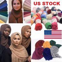 Women Premium Viscose Islam Muslim Warm Maxi Crinkle Cloud Hijab Scarf Shawl